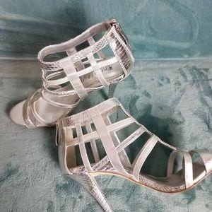 White House Black Market Silver Stappy Heel 8.5
